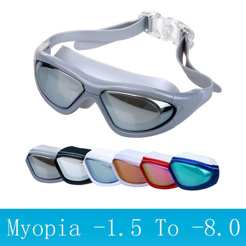 Adultes lunettes de natation myopie masque de plongée Anti-buée sport grand cadre prescription natation lunettes degré optique étanche lunettes