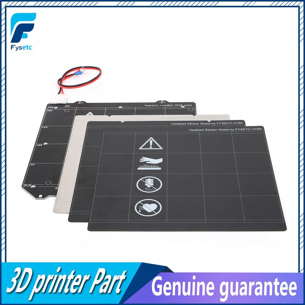 Klon Prusa i3 MK3 Magnetische Beheizte Bett MK52 Verdrahtung Thermistor Kit Mit Magnet + Stahl Blatt + 2 stücke Schwarz aufkleber Für Prusa i3 MK3