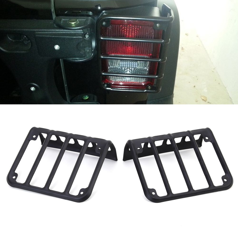 Universal Pair Metal Black Rear Tail Light Guard Cover Protector for 2007 - 2017 Jeep Wrangler High Quality Car Accessories