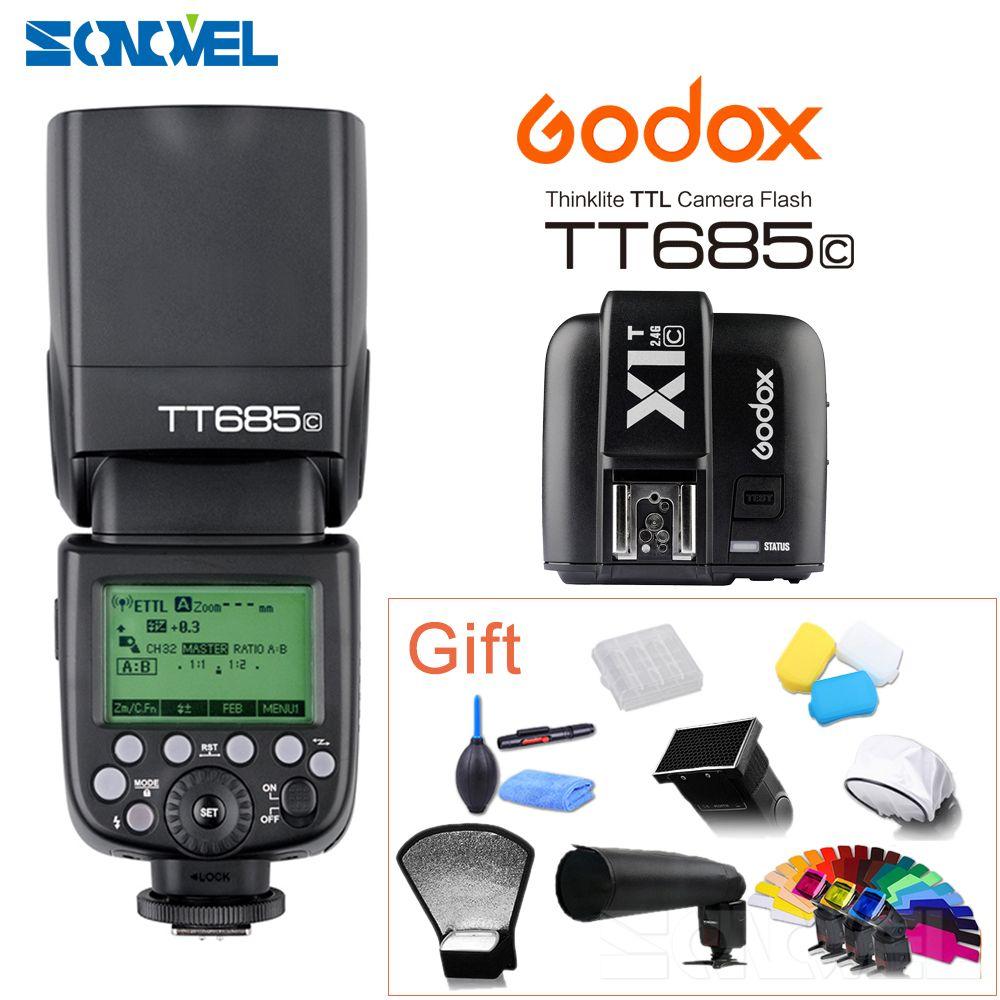Godox TT685C +X1C TTL Flash & Trigger Set Wireless 2.4G Speedlite Transmitter for Canon EOS 70D 60D 5D2 5D3 6D 7D 650D 700D+Gift