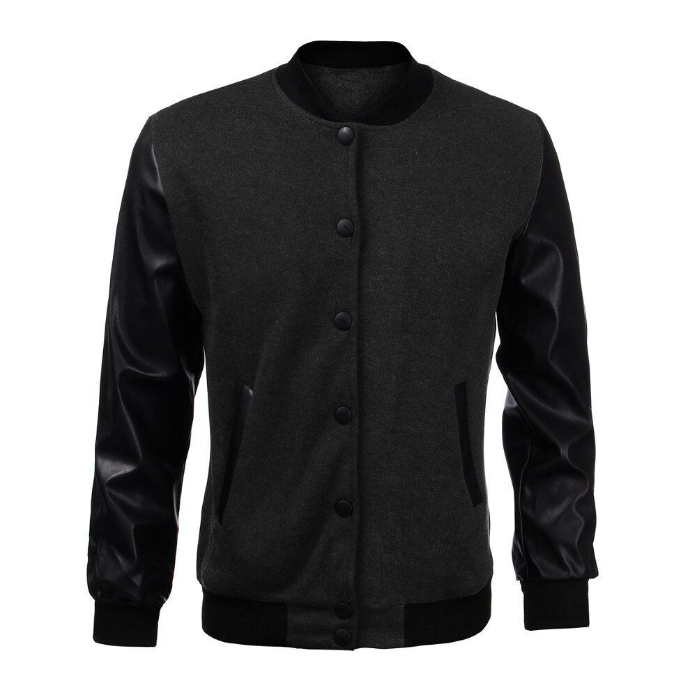 2017 Мужская мода осень тонкая верхняя одежда мужской персонализированные кожаный шить Повседневное Бейсбол куртка-бомбер ветровка