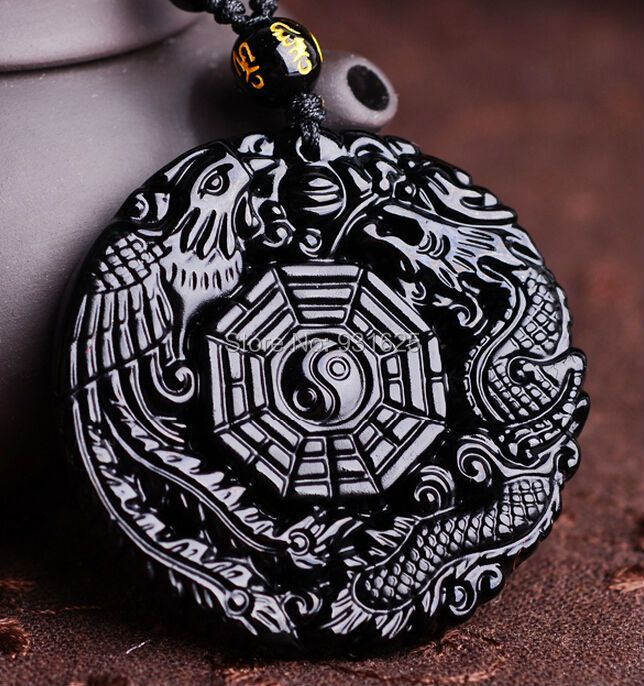 Drop Ship Natural Black Obsidian Hand Carved Chinese Dragon Phoenix BaGua Lucky Amulet Pendant Necklace certificate Jewelry