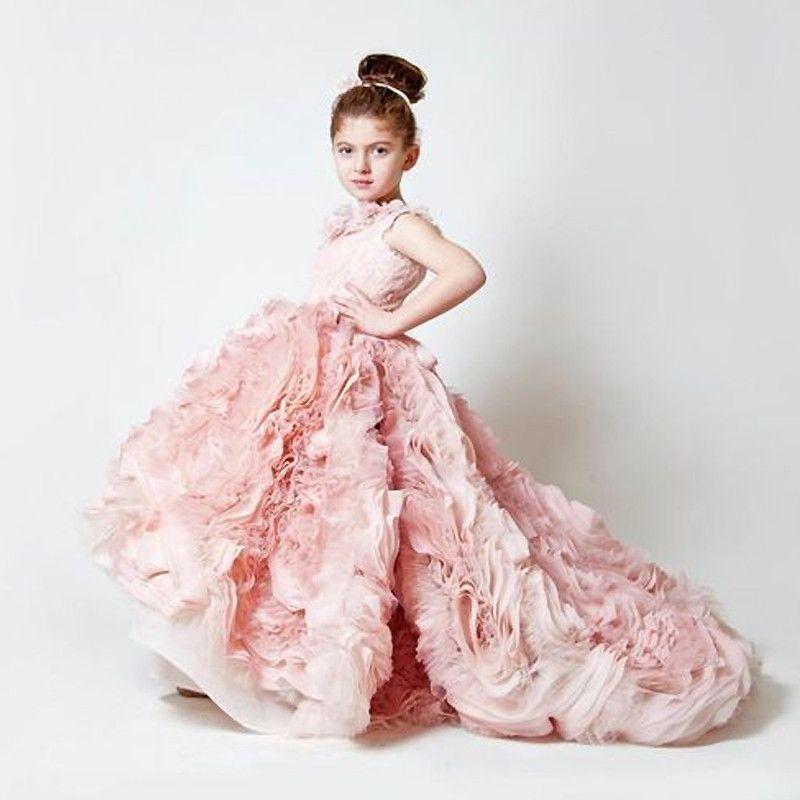 Robes de première Communion rose sans manches volants col carré robe de demoiselle d'honneur petite princesse robe de première Communion 2018