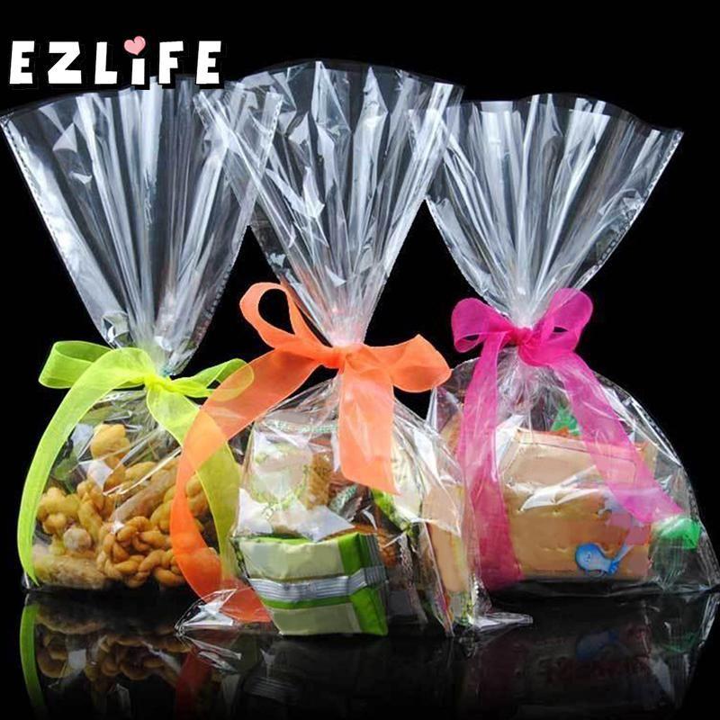 100 pcs 12*25 Cm Transparent Conception Adhésif Sac Cookies Diy Cadeau Sac Pour Wedding Party De Noël De Bonbons Alimentaire emballage Sac MS072
