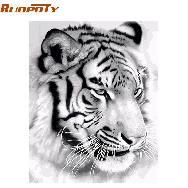 RUOPOTY cadre tigre animaux peinture à la main par numéros mur Art photo acrylique toile peinture pour la décoration de la maison livraison directe