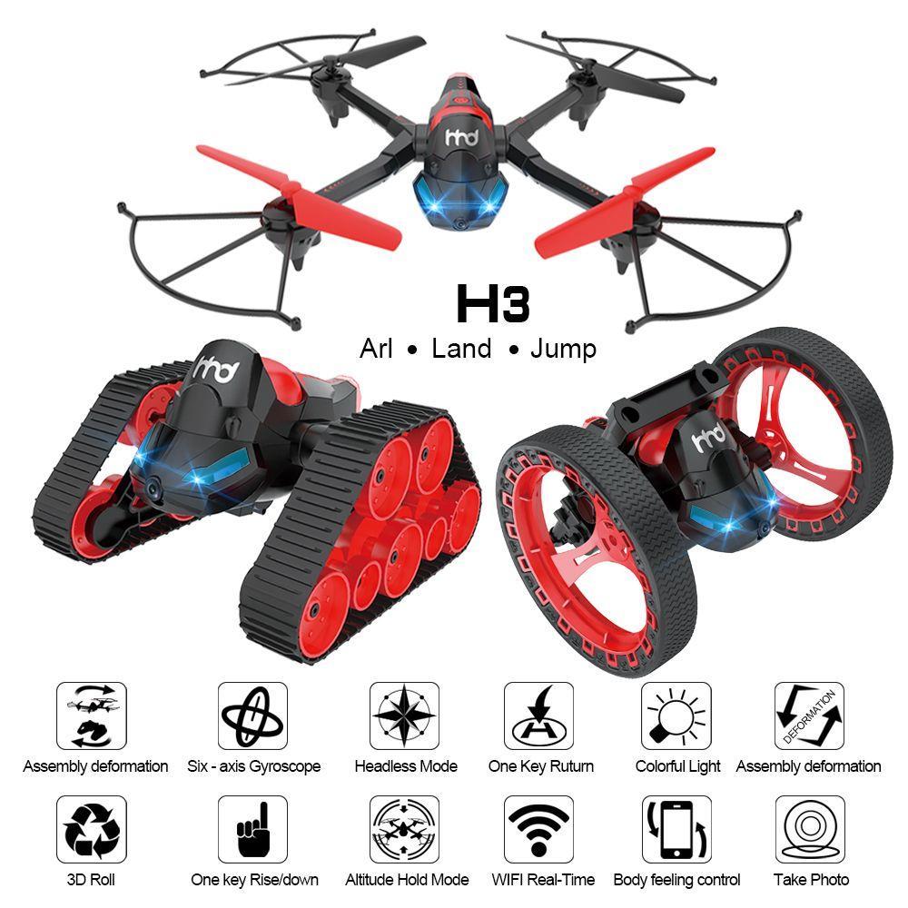 EBOYU H3 DIY RC Drone 2.4G 6-Axis w/ Wifi FPV 0.3MP Camera Transformer RC Quadcopter Drone RC Tank Jumping Stunter RC Stunter