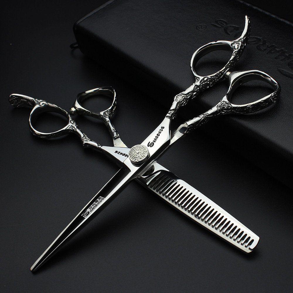 7 pouces ciseaux de coiffure ciseaux professionnels de cheveux 6.0 440c ciseaux de coiffeur coupe de cheveux de haute qualité Tijeras ciseaux ensemble