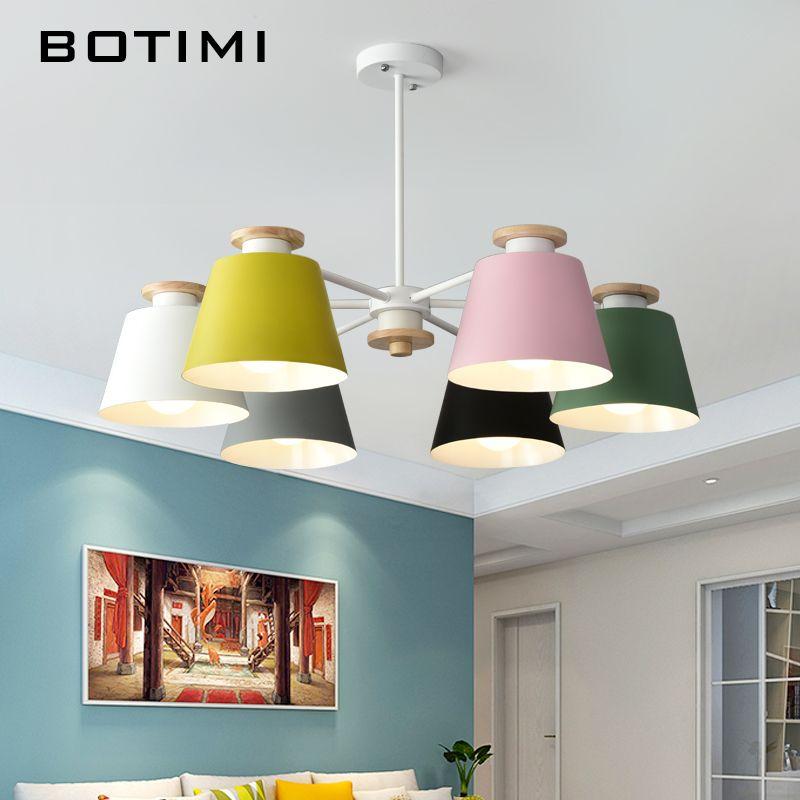 BOTIMI Colorful Chandelier Lighting For Living Room LED Lustre Wooden Hanging Light Ceiling Chandeliers Modern Kitchen Lights