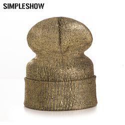 Новая модная зимняя шапка для Для женщин Обувь для девочек Skullies шапочки теплые шапки женские толстые золотым тиснением шерстяные однотонны...