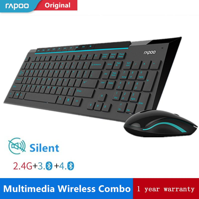 Rapoo Multimedia Wireless Keyboard Mouse Combos with Fashionable Ultra Thin Whaterproof Silent Mice for Computer PC Gaming TV