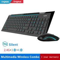 Rapoo Multimedia teclado inalámbrico Mouse Combos con moda Ultra delgada funda impermeable silencio ratones para computadora de juegos de PC TV