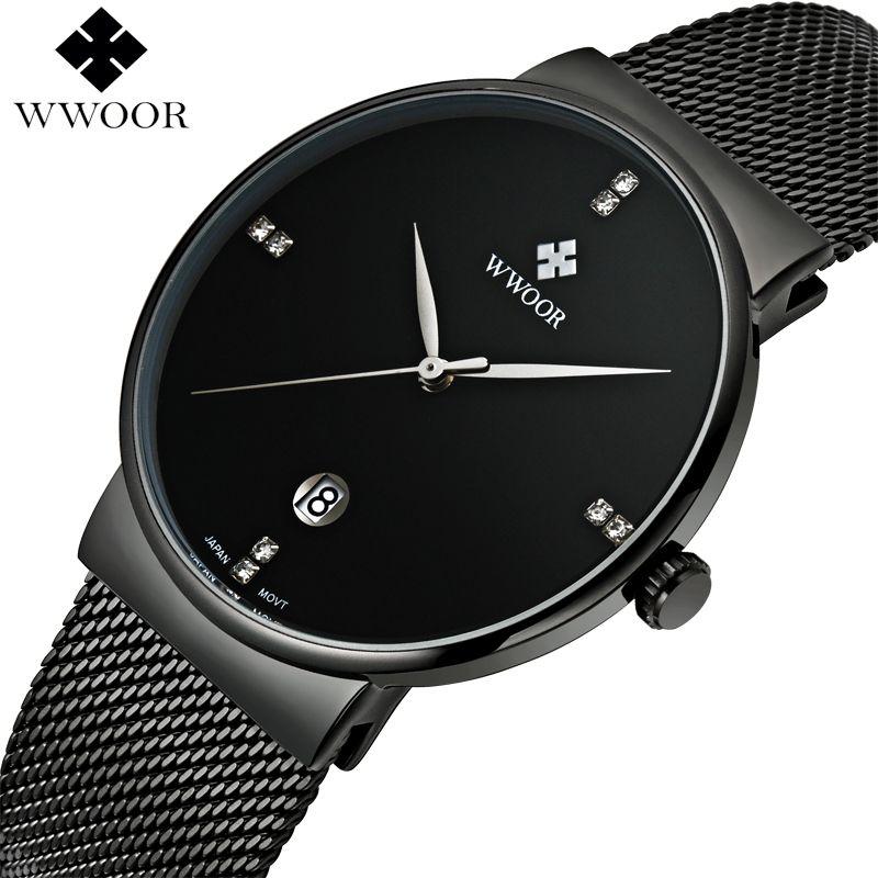 WWOOR Men Impermeable de Los Relojes de primeras Marcas de Lujo Fecha Reloj Del Deporte Del Cuarzo de Negocios Hombres masculino relogio del Reloj de Acero Inoxidable Negro