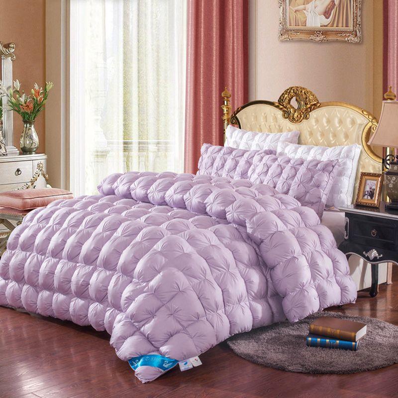Фиолетовый/Тиран золото/белый/розовый цвет одеяло Duck/Гусь Подпушка Стёганое одеяло ED Стёганое одеяло 200*230 см/220*240 см зимние Роскошные Одеяла...