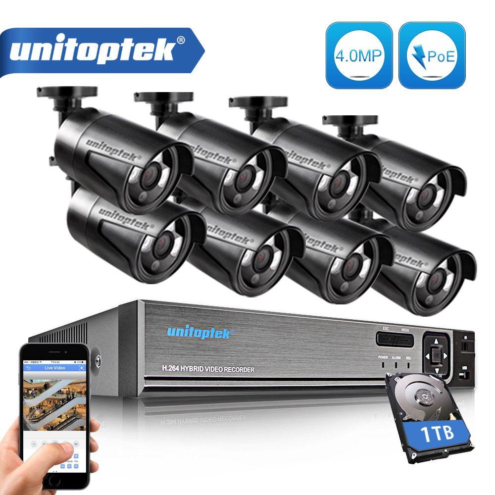 H.265 8CH CCTV Surveillance Kit 4MP Security Camera System 8CH POE NVR Max 4K Output 8Pcs 4MP POE IP Camera Waterproof CCTV Set