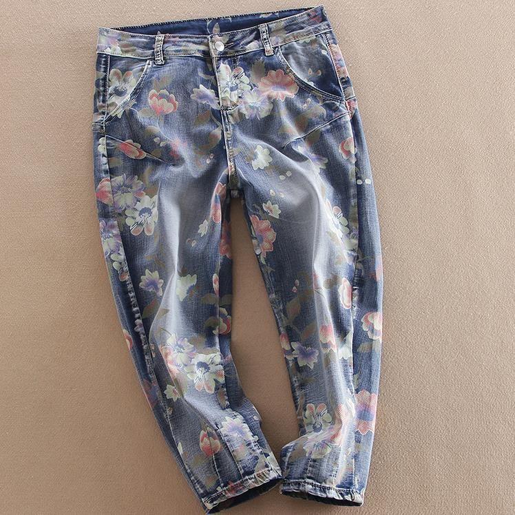 Boyfriend Jeans 2017 New Women Jeans Loose cross Pants flower print Harem capris plus size