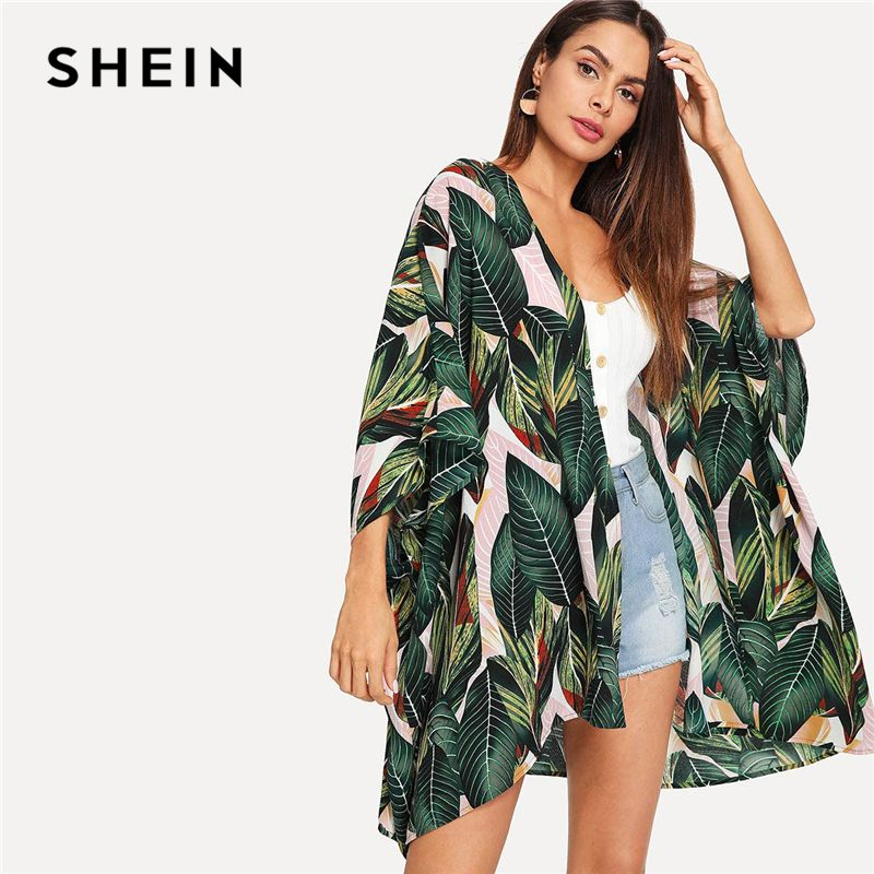 SHEIN Multicolor Tropical Jungle Leaf Print Batwing Sleeve Kimono 2019 Women Summer Sleeve Vacation Longline Beach Blouses