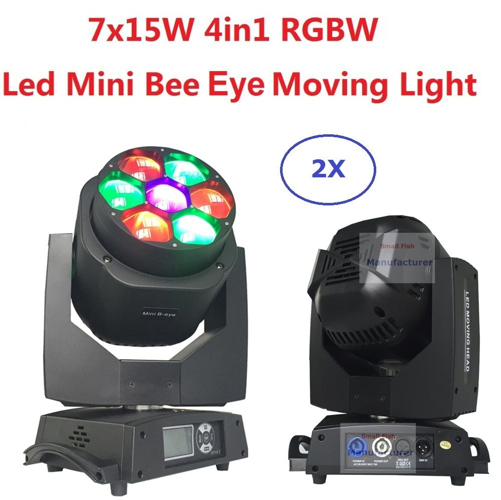 2 xLot Neue Led Mini Biene Auge Moving Head Licht 7x15 W RGBW Lichter 4- 60 grad Zoom DJ DMX Disco Strahl Waschen Wirkung