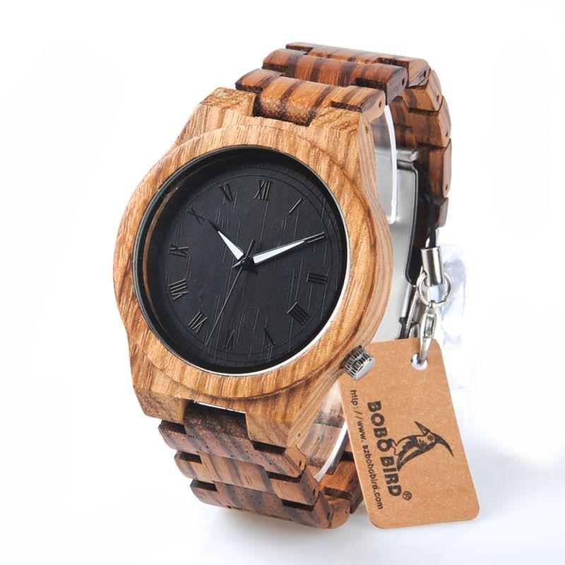 BOBO BIRD M30 Classical Zebre Wooden Watch Black Dial Wooden Fashion Clock Quartz Watches Men with Gift Box