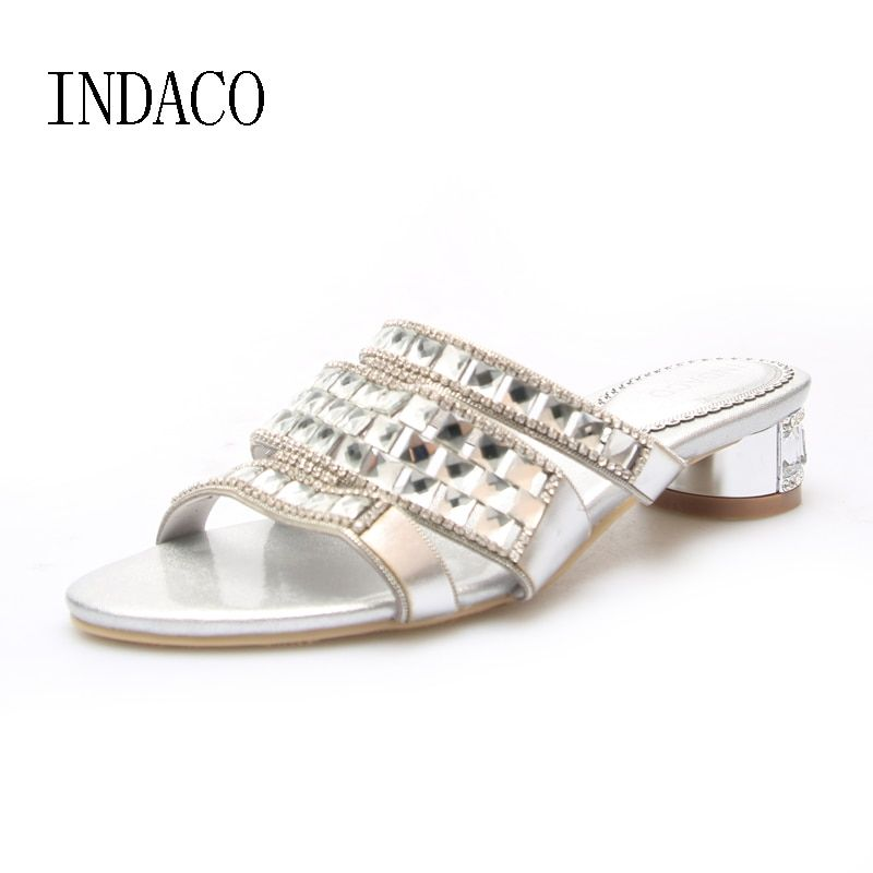 Rhinestone Silver Leather Slippers Women Summer Shoes Thick Heels Slip On Silver Sandale Femme Talon INDACO