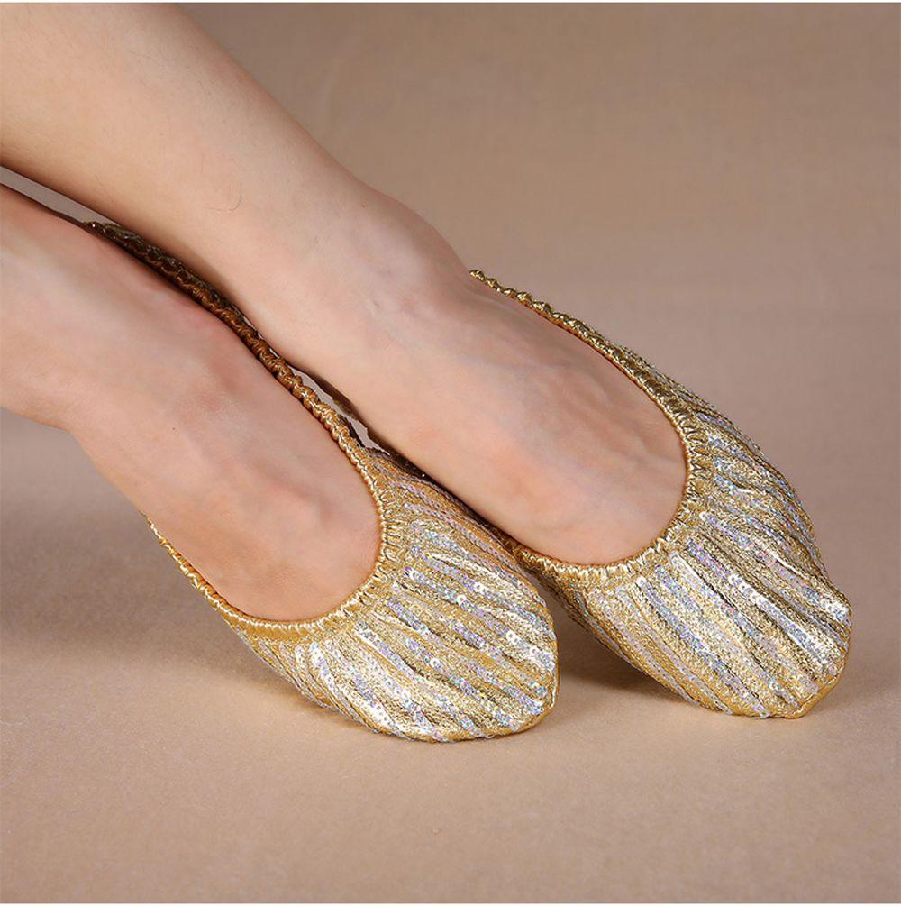 Barato Al Por Mayor de las mujeres zapatos de dama danza del vientre danza del vientre accesorios para zapatos de bailarina en la etapa de la danza del vientre lentejuelas zapatos
