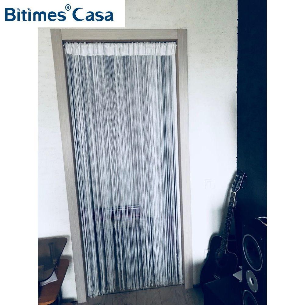 Couleur unie W100L200CM chaîne rideau ligne rideau porte cintre rideau chambre diviseur fenêtre aveugle cantonnière décoration de la maison