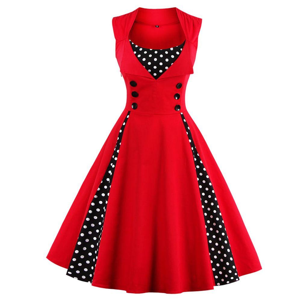 Women 5XL New 50s 60s <font><b>Retro</b></font> Vintage Dress Polka Dot Patchwork Sleeveless Spring Summer Red Dress Rockabilly Swing Party Dress