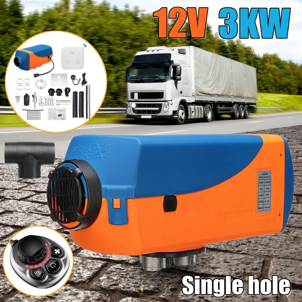 3KW 12V Diesel Air Heater Tank Single hole / 4 holes 2xVent Duct Thermostat Caravan Motorhome Knob Switch Car Heater