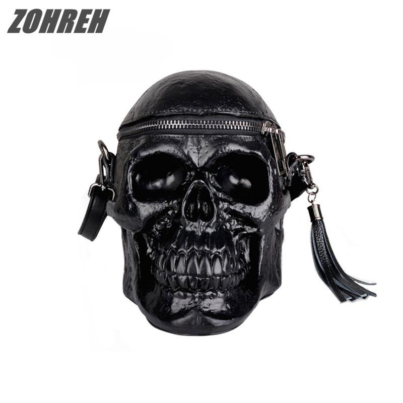 2018 Punk Originality Women Bag Funny Skeleton Head Black handbad Men Single Package Fashion Designer Satchel Package Skull Bags