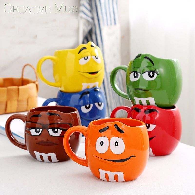 Genuine American M Chocolate Beans Mugs Cups Cartoon Expression Ceramics Coffee Milk Breakfast Cup For Christmas Gift 600ml