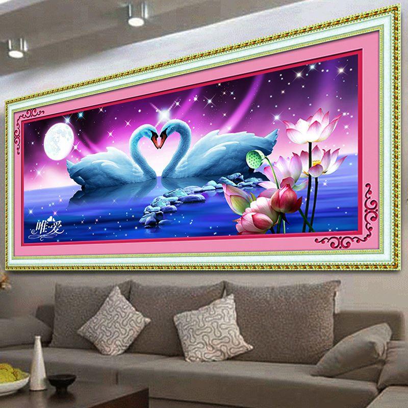 5D bricolage diamant broderie peinture point de croix Animal cristal rond diamant beau cygne lac chambre décorative couture