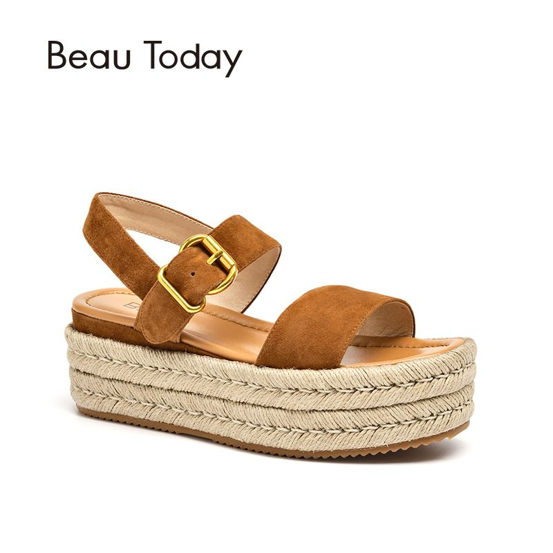 BeauToday Women Summer Sandals Kid Suede Genuine Leather Rope Sole Buckle Strap Ladies Shoes Top Quality 32071