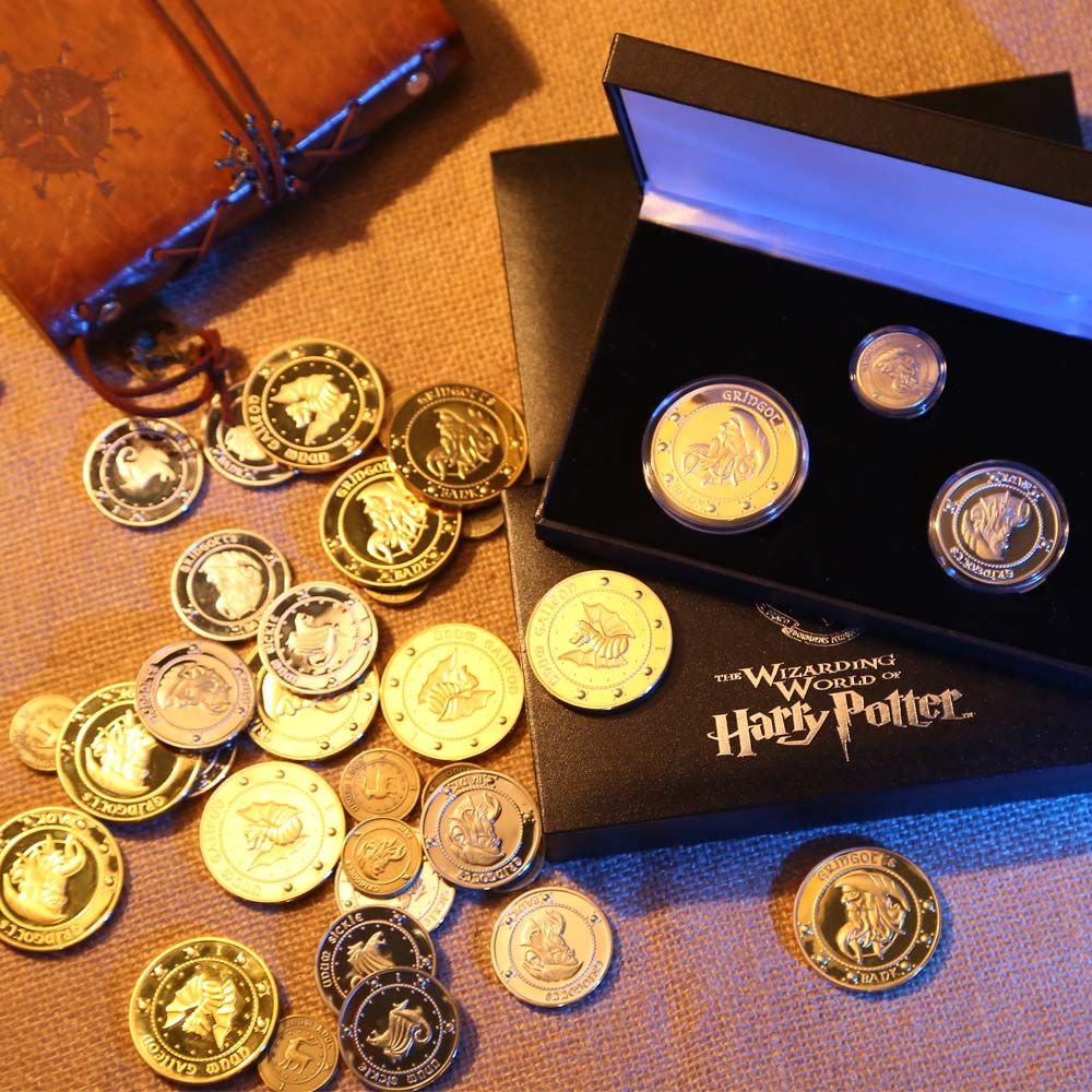 Harri potter Hogwart Gringotts Bank Coin Collection Wizarding World,Noble with cloth bank bag Halloween Christmas gift 3pcs/set