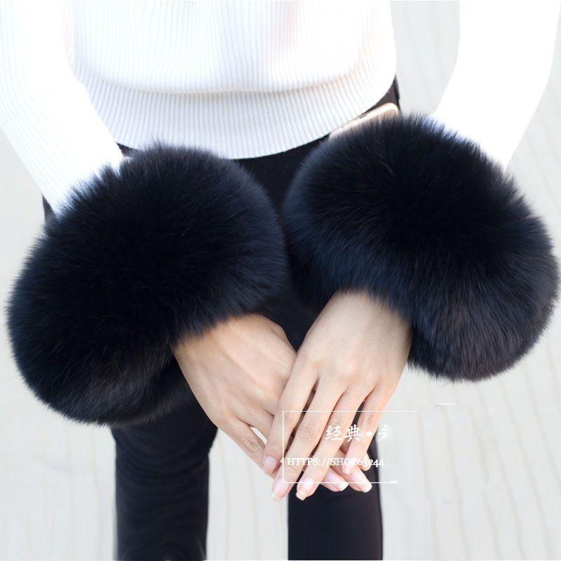 Real Fox Fur Cuffs For Women 2018 Winter Fashion Black Raccoon Fur Cuff  Lady Bracelet Wristband Arm Warmer