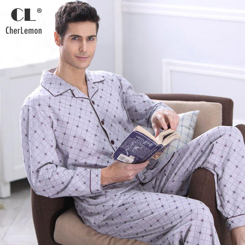 Cherlemon Для мужчин пижамы Осень с длинным рукавом Пижамы из хлопка; одежда для сна мужской плед Lounge Пижамы для девочек Большие размеры ночное ...