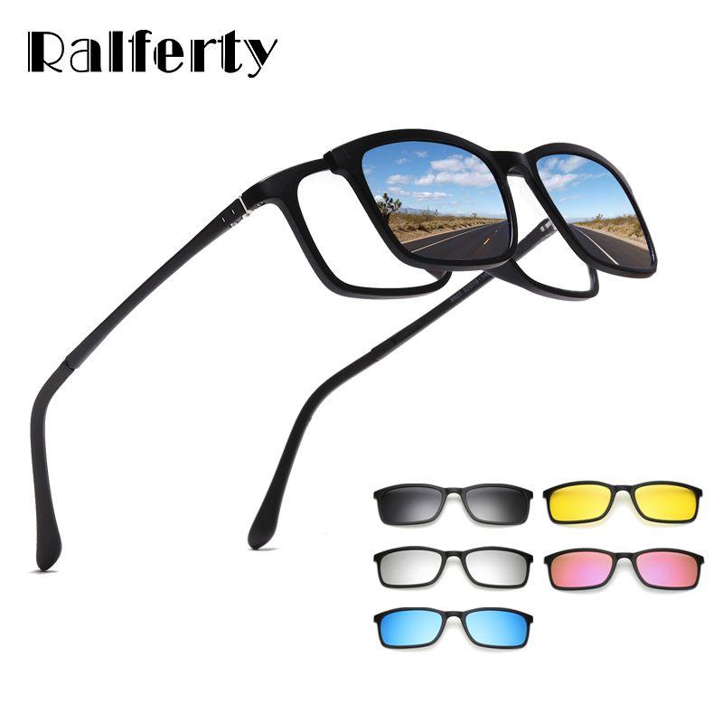 Ralferty lunettes de soleil polarisées hommes femmes 5 en 1 Clip magnétique sur lunettes TR90 optique Prescription montures de lunettes lunettes 8803