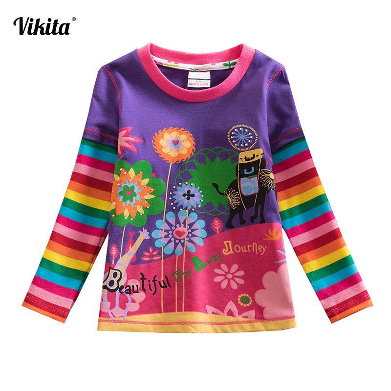 VIKITA t-shirts enfants enfants enfant T-Shirt à manches longues T-Shirt pour les filles hauts bébé T-Shirt T-Shirt Fille filles vêtements L328