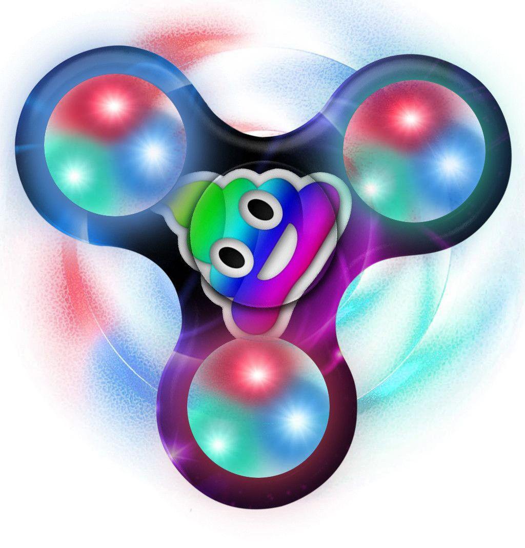 Finger Spinner Kunststoff Hand Spinner Gyro Emoji LED-Licht Zappeln Hand Tri-Spinner Stressabbau Manipulative Spielen Spielzeug