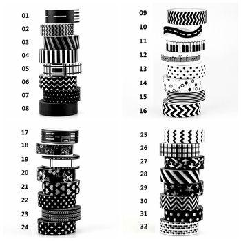 1X15mm Ruban Noir Blanc ensemble Dot, Fleur, Étoile Imprimer Scrapbooking DIY Autocollant Décoratif Masquage Japonais Washi Bande Papier Lot 10 m