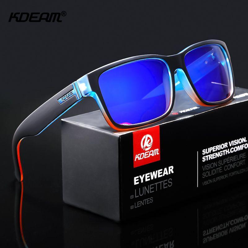 Revamp de Sport hommes lunettes de soleil polarisées KDEAM couleurs choquantes lunettes de soleil conduite en plein air lunettes de soleil photochromiques avec boîte