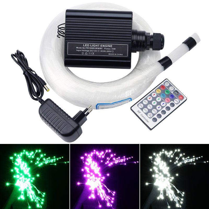 NOUVEAU 16 W RGBW LED Fiber Optique Étoiles ciel Plafond Kit Lumière 200 pièces/300 pièces/400 pièces * 0.75 MM * 2 M fiber optique + 28 clé à distance