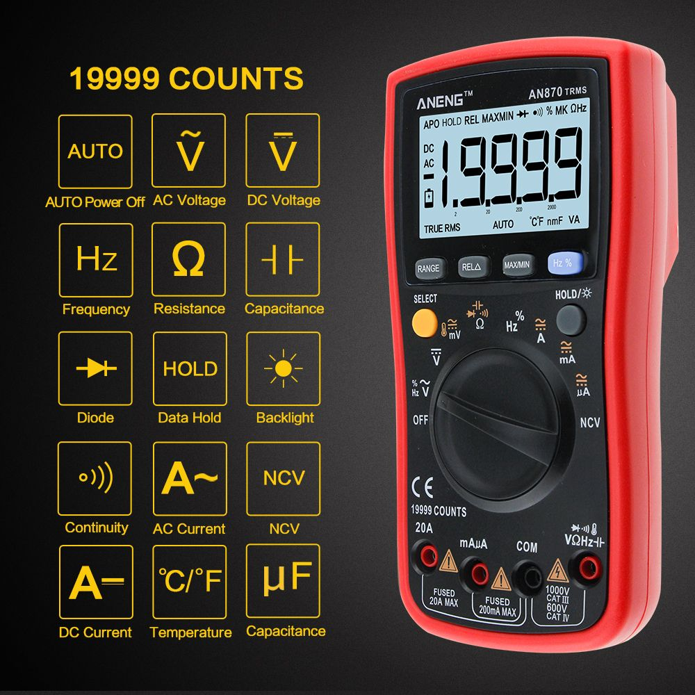 AN870 Auto Range Digital Precision multimeter True-RMS 19999 COUNTS NCV Ohmmeter AC/DC Voltage Ammeter Transistor Tester
