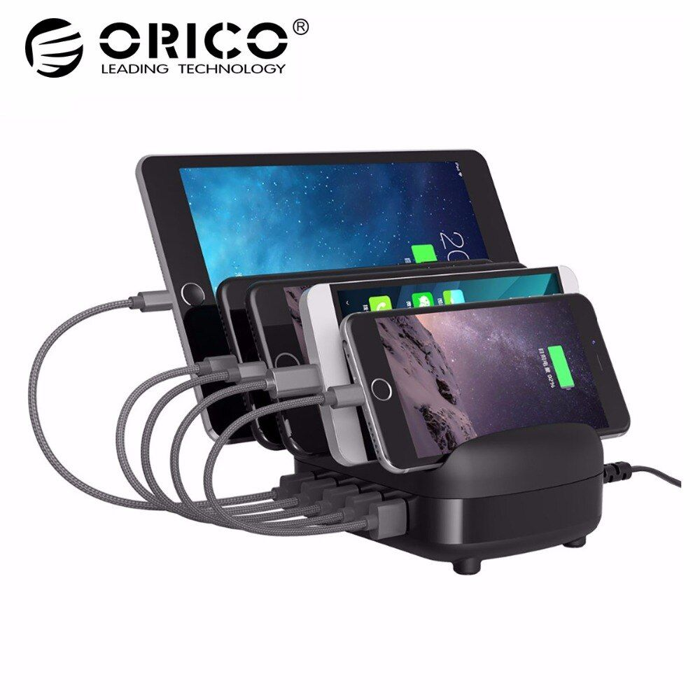ORICO 5 Ports USB Charger Station Dock with Holder 40W 5V2.4A*5 USB Charging for Smart Phone Tablet PC Apply for Home Public