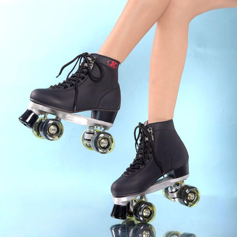 Schwarz Rollschuhe Mit Schwarz Led-beleuchtung Räder Doppellinie Skates Erwachsenen Renn 4 Räder Zwei linie Roller Skating Schuhe