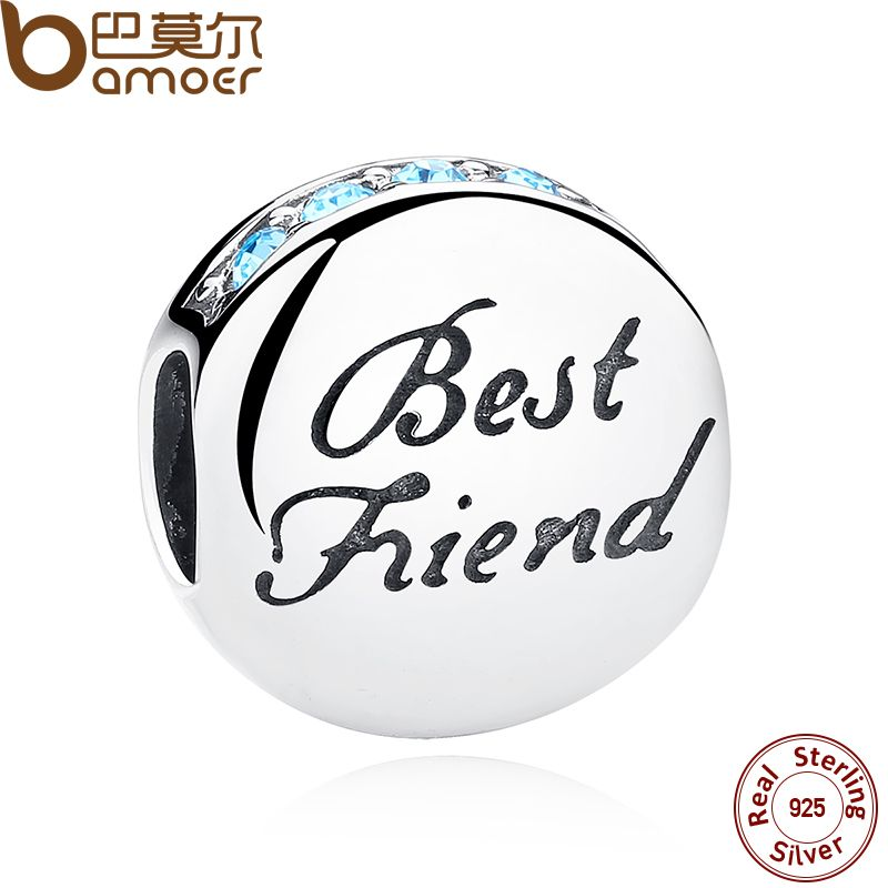 BAMOER New Fashion 925 Sterling Silver BEST FRIEND Beads Charms fit Brand Bracelets Necklace Friendship Gift SCC022