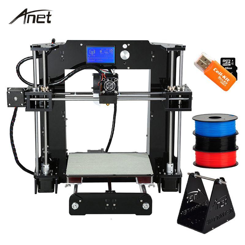 Anet A8 A6 3D Printer High Precision Impresora 3D LCD Screen Aluminum Hotbed Extruder Printers DIY Kit PLA Filament 8G SD Card