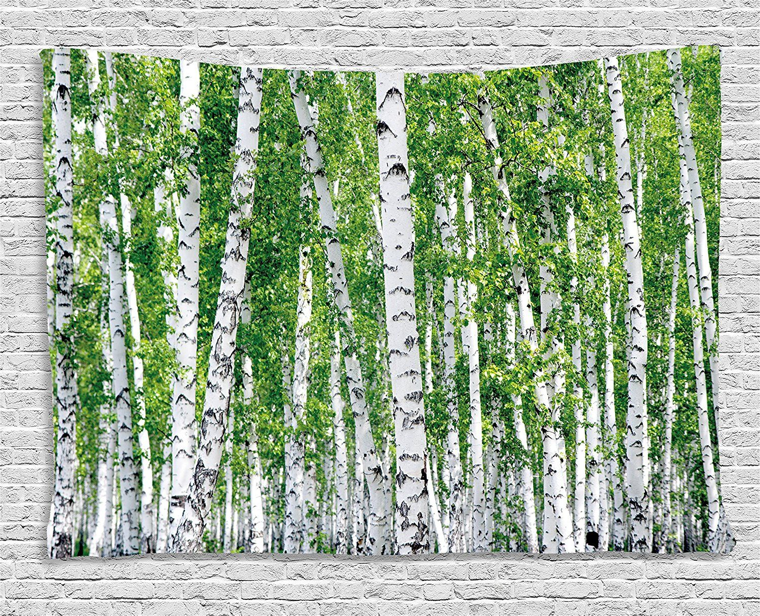 Birch Tree Tapestry Fresh Green Leaves Summer Forest Rural Landscape Tapestry Wall Hanging for Bedroom Living Room Dorm