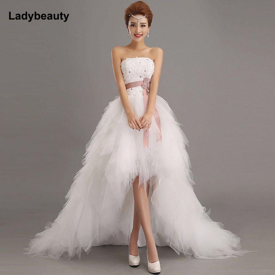 Ladybeauty 2017 Bas prix la mariée princesse royale robe de mariage train court formelle robe courte de mariage de conception growns