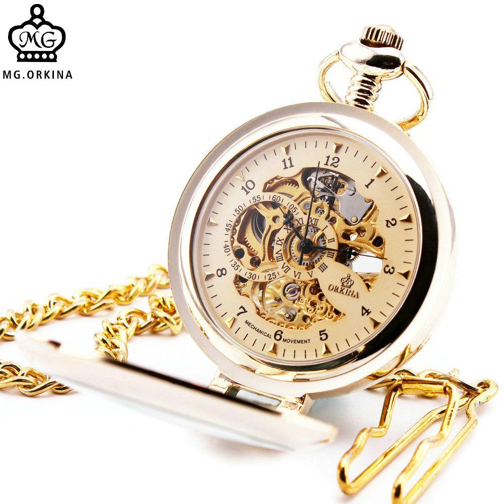 Antiguo Steampunk esqueleto reloj masculino transparente reloj de bolsillo mecánico con cadena colgante para hombres mujeres niños + caja