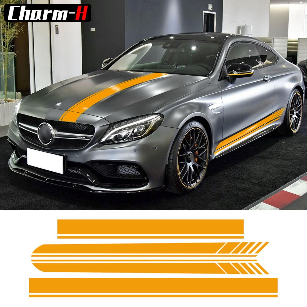 Edition 1 Side Stripes Top Hood Roof Bonnet Decal Stickers for Mercedes Benz C63 AMG Coupe C200 C250 C300 Yellow/5D Carbon Fibre