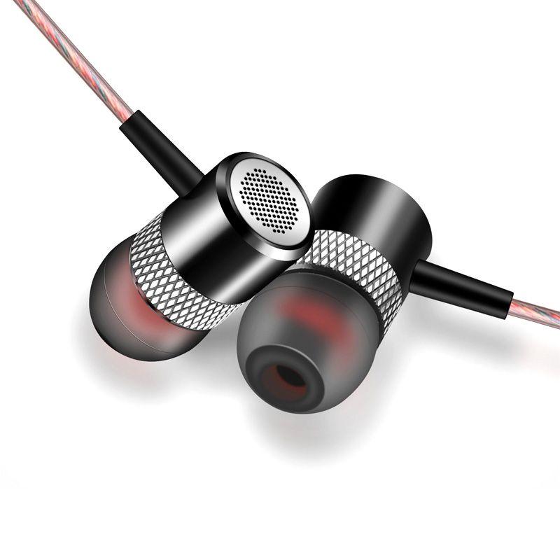 RUKZ D02 Pistón Auriculares En la Oreja los Auriculares con Micrófono de Metal Profesional de Alta Fidelidad Estéreo Teléfono Móvil Auriculares de Cancelación de Ruido